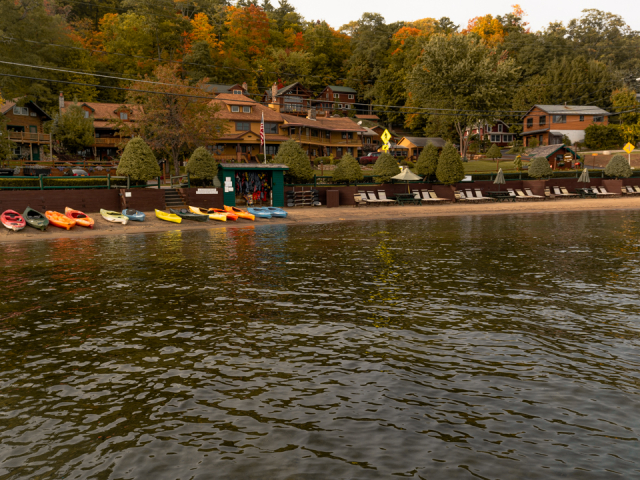 Beach and resort from the lake in early fall